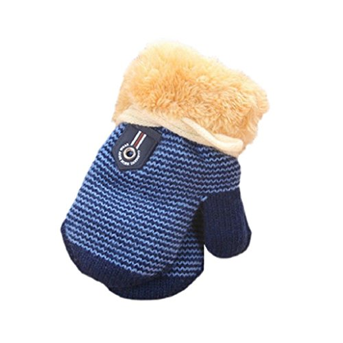 Guantes de bebé Auxma Para 1-4 años de edad Linda hoja bebés de los muchachos espesa la ropa guantes calientes azul