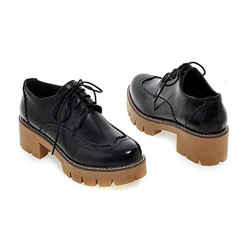 Lucksender Carving Shoes Pumps Black Heel Womens Chunky Up Platform Lace xFqwnOg8YF