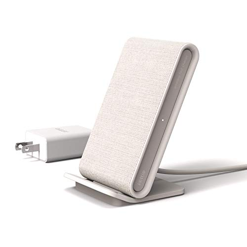 iOttie iON Wireless Fast Charging Stand || Qi-Certified Charger 7.5W for iPhone XS Max R 8 Plus 10W for Samsung S9 Note 9 | Includes USB C Cable & AC Adapter | Ivory