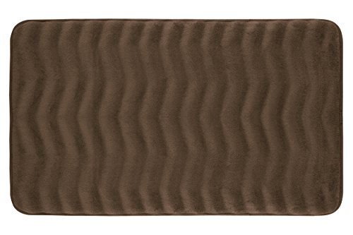 Bounce Comfort Waves Extra Thick Memory Foam Bath Mat - Premium Micro Plush Mat with BounceComfort Technology, 20 x 32 in. Mocha