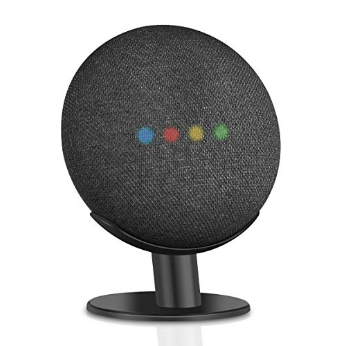 Caremoo Metal Pedestal Stand for Google Nest Mini (2nd Gen) and Google Home Mini (1st Gen), Sound Visibility and Appearance Improving, Desktop Mount Holder for Your Google Mini Voice Assistant (Black)