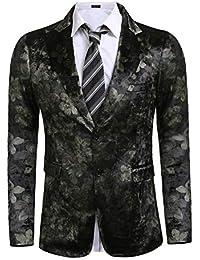 ea3ed3bc89d6 Mens Shiny Luxury Casual Floral Party Blazer Jacket 2 Button Velvet Blazer  Coat