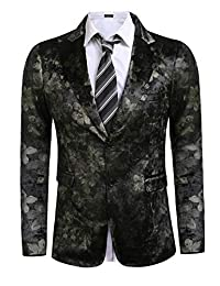 COOFANDY Men's Slim Fit Suits Casual Floral Dinner Blazer Jacket Wedding Tuxedo
