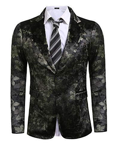 Coofandy Mens Stylish Notched Lapel Floral Casual Two Button Blazer Business - Velour Blazer
