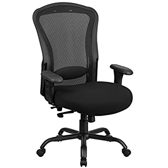 Flash Furniture HERCULES Series 24/7 Intensive Use Big & Tall 400 lb. Rated Black Mesh Multifunction Swivel Chair with Synchro-Tilt