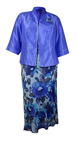Le Bos Women's 2PC Sheen Jacket Floral Print Dress (16W, Lilac/Turquoise)