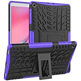 for Samsung Galaxy Tab A 10.1 2019 SM-T510 T515 Heavy Duty Case, Shockproof Tough Anti Knock Bumper Rugged Case Cover (Purple)