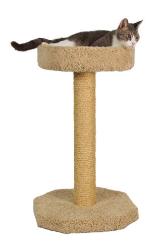 "Molly and Friends ""Feline Recliner"" Premium Handmade One Tier Sisal Cat Scratching Post Furniture with Bed, Model Scr/b, Beige"