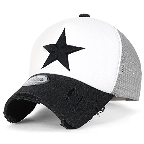 ililily Star Embroidery tri-Tone Trucker Hat Adjustable Cotton Baseball Cap, White