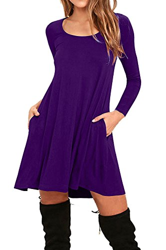 Sleeve Slit Maxi Dress Short TBONTB Casual Solid Purple Womens Long Dress XxTqqwZU7