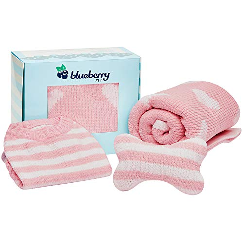 Blueberry Pet 2019 New Puppy Gift Box with Pack of 3 Chenille Products in Baby Pink - Ultra Soft Cozy 12