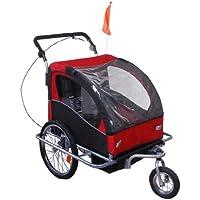 Outsunny - Rimorchio Bici Carrello Bambini Bicicletta Bimbi Gancio Acciaio Sicuro Con Funzione Di Passeggino