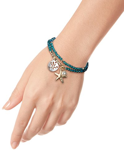 Bracelet Starfish (SPUNKYsoul Starfish Stretch Bracelets Silver, Gold Blue Faceted Crystal for Women Beach Collection (Blue Faceted))