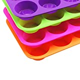 12-Cup Silicone Mini Muffin Pan, 4 Packs Silicone Mold Cupcake Baking Pan, Non-Stick, Dishwasher&Microwave Safe(Orange, Pink, Green, Purple)