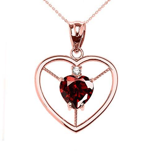 Collier Femme Pendentif Élégant 14 Ct Or Rose Grenat et Diamant Solitaire Cœur (Livré avec une 45cm Chaîne)