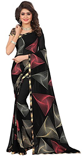 Saree Print - Women's Faux Georgette Geometric Print Saree Black 6.30 m With Blouse Piece by Kalaa Varsha