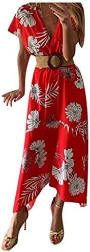 Memela Midi Dresses for Women Elegant V-Neck Long Dress Short Sleeve Floral Printed Dress Ladies Summer Beach Maxi Sundress