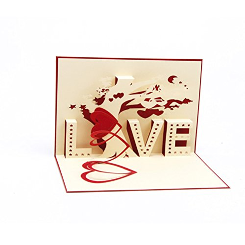 OULII Love Tree 3D Pop Up Greeting Card Handmade Valentine's Day Card Valentine's Day gift for women girls (Red Cover)
