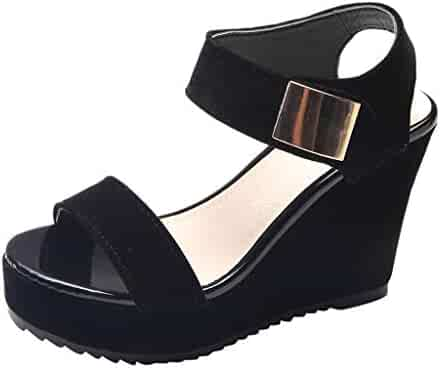 e913dd2179d BEAUTYVAN Girls Casual Summer Slip On Sandals Slingback Peep Toe Platform  Wedge Shoes