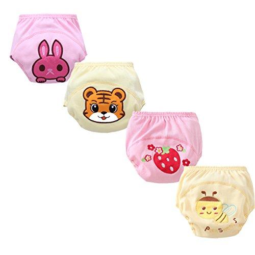 Losorn Baby Boys Girls 4 Pack Cute Potty Training Pants Reusable(100 girl)