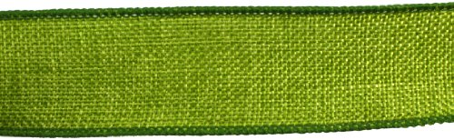 Apple Burlap Ribbon - Kel-Toy Wired Faux Burlap Ribbon, 1.5-Inch by 10-Yard, Apple Green