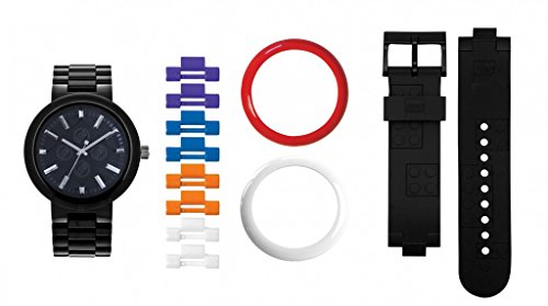 LEGO 9007705 Unisex 4 Corner Stud Black Adult Watch with Interchangeable Bands and Bezels