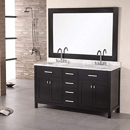Design Element Dec076a London 61 Double Sink Vanity Set In Espresso Inch Bathroom Vanities