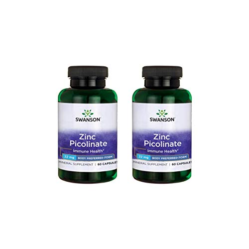 Swanson Zinc Picolinate Body Preferred Form 22 mg 60 Caps 2 Pack