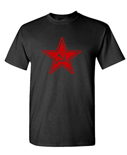 RUSSIAN COMMUNIST STAR - retro 80's cccp commie Tee Shirt T-Shirt, L, Black