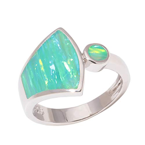 MARRLY.H Created Green Fire Opal Silver Plated Sell for Women Jewelry Ring Green 6