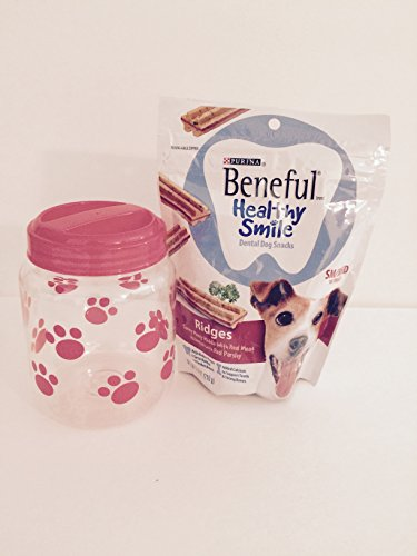 Dog Treat/ Canister Bundle Includes Purina Beneful Healthy Smiles and Plastic Paw Print Canister (Red)