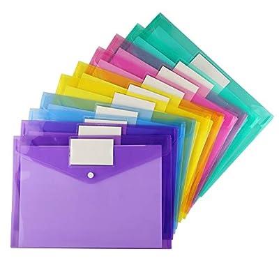 Plastic Envelopes Poly Envelopes, Sooez Clear Document Folders US Letter A4 Size File Envelopes with Label Pocket & Snap Button for School Home Work Office Organization, Assorted Color