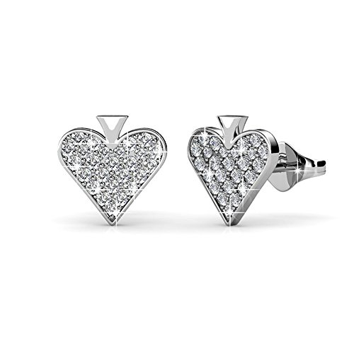 Cate & Chloe Dylan Divine White Gold Heart Earrings, 18k Gold Plated Studs with Swarovski Crystals, Heart Stud Earring Set with Pave Stone Swarovski Crystals, Wedding Anniversary Jewelry MSRP - $124 -