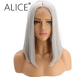 """ALICE Lace Front Wigs 14"""" Short Bob Silver Grey Wig, Silky Straight Middle Part Heat Resistant Synthetic Full Wig for Women"""