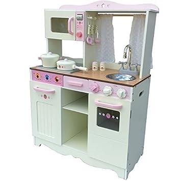 Vintage Cocina para niños Cocinita de la madera crema con Accesorios ...