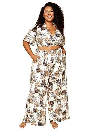 Astra Signature Women' s Plus Size Deep V Neck Half Sleeve Leaf Print Sexy Short Wrap Crop Top White