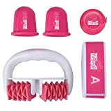 Facial Yoga Routine - LiPing Natural Facial Beauty Massager The Body Shaper Set Against Cellulite Massage Roller Suction Cup And ElasticBand Therapy Slimming Tool Facial (A)