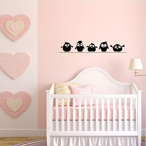 xiaomeihao Cute 5 Little Birds On The Wire Wall Stickers Door Stickers for Kids Room Living Room Art Decals Cartoon Animal Waterproof Vinyl 1057Cm