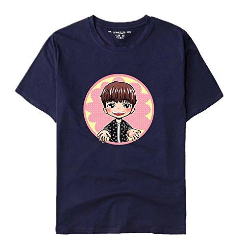 Unisex BTS Bangtanboys Cartoon kurzärmelig Shirt Sommer Rundhals Shirt Dunkelblau A AEk6766efT