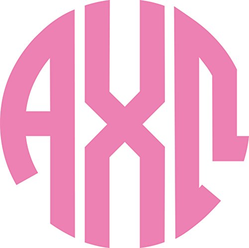 Alpha Chi Omega Sorority Pink No Border Monogram Sticker Decal Exclusively Designed Greek Letter 4 Inches Round for Window Laptop Computer Car - Gem State Hawaii