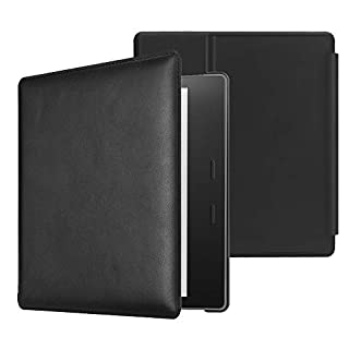 CaseBot Leather Case for Kindle Oasis (10th and 9th Gen, 2019 and 2017 Release) - Slim Fit Protective Cover, Black