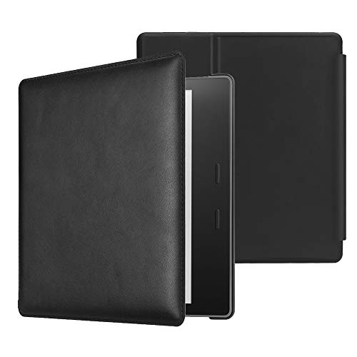 CaseBot Genuine Leather Case for All-New Kindle Oasis (10th Generation, 2019 Release and 9th Generaion, 2017 Release) - Slim Fit Protective Cover with Auto Wake Sleep, Black