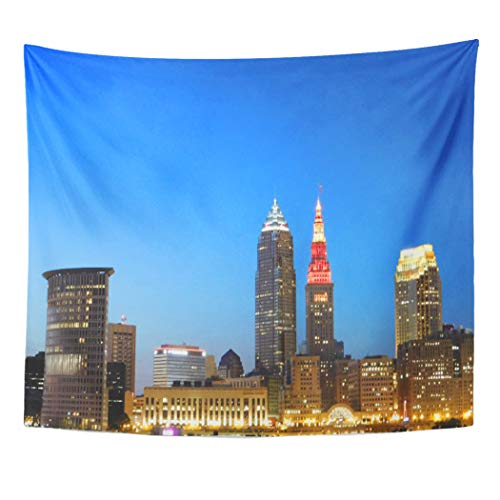 Semtomn Tapestry Artwork Wall Hanging Skyline Cleveland Ohio Wine and City View Landscape 50x60 Inches Tapestries Mattress Tablecloth Curtain Home Decor Print for $<!--$19.90-->