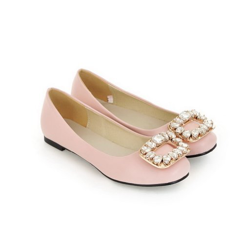VogueZone009 Womens Closed Round Toe Soft Material PU Solid Flats with Glass Diamond, Pink, 5.5 UK