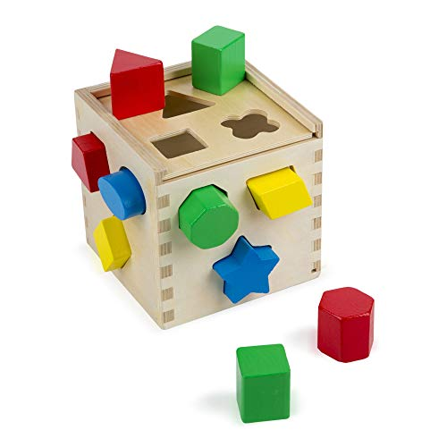 Melissa & Doug Shape Sorting Cube Classic Wooden Toy, Developmental Toy, Easy-to-Grip Shapes, Sturdy Wooden Construction, 12 Pieces, 5.5? H × 5.5? W × 5.5? L