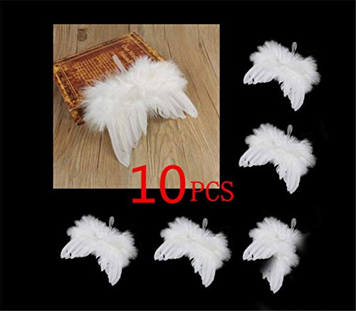 MysterLuna 10Pcs Mini Guardian Angel White Feather Wing Christmas Tree Hanging Ornament Decor (Feather Wing Ornaments Angel)