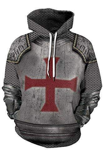 Mens Armor Templar Crusader Cross Knight Hoodie Shirts Medieval Cosplay Costume Sweatshirt (Tag L(L/XL), Grey) ()