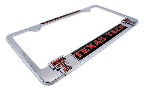 Premium NCAA Mascot License Plate Frame w/ dual 3D logos (Texas (Raiders 3d License Plate)