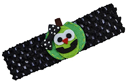 (Happy Pumpkin Halloween Crochet Baby Headband (Green)