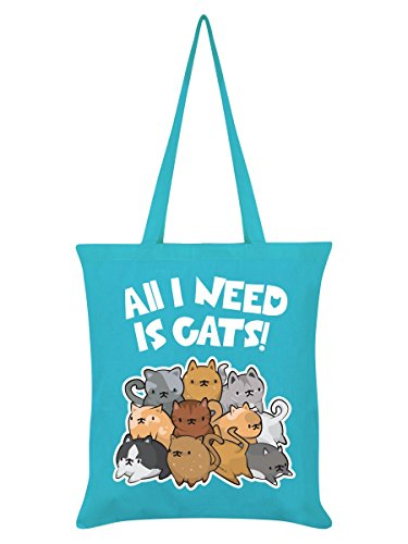 Borsa tote All I Need Is Cats in azzurro